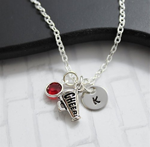 Cheer Megaphone Necklace - Cheerleading Jewelry - Cheer Gifts - Personalized Team Color & Initial - Fast Shipping for $<!--$14.99-->