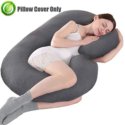 KWLET Pregnancy Pillow Cover C Shaped Pregnancy Pillow Case Soft 100% Jersey Cotton Pregnancy Pillow Cover Maternity Pillow Case Pillowcase with Double Zipper Replacement Pregnancy Pillowcase Grey