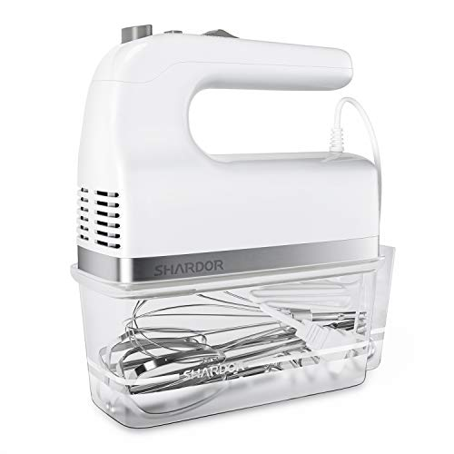 SHARDOR Hand Mixer, 350W Handheld Mixer with Storage Case 5-Speed Plus Turbo Hand Mixer Electric With 5 Stainless Steel…