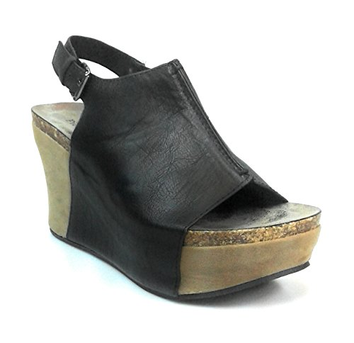 2' Wedge Shoes - Pierre Dumas Hester-14 Women Low Wedge with an Adjustable Side Buckle Sandals,Black,5.5