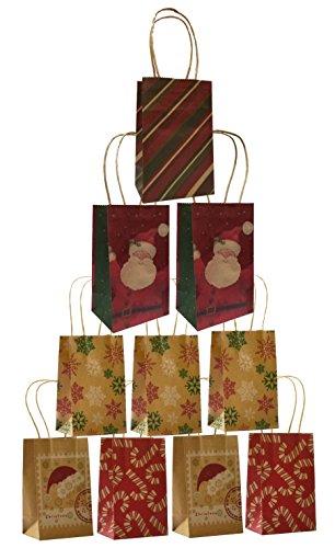 Christmas Small Gift Bags Kraft, 10 Pack