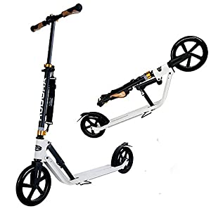 Hudora Big Wheel Scooter Adult Scooter Kick Scooter City Style 230 City Scooter (230MM&205MM Wheel)-Big Wheel Vibration Damping-Portable Folding Adjustable Height -Black/White (White)