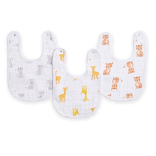 "aden by aden + anais Snap Bib, 100% Cotton Muslin, Soft Absorbent 3 Layers, Adjustable, 9"" X 13"", 3 Pack, Safari Babes"