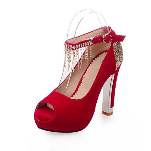 Talones del Dedo del pie Redondo del Tacón Alto del Dedo del pie Abierto de la Boda de la Boda y de la Carrera/de la Carrera/Casuales Negro/Rojo Talla 34-39 Rojo
