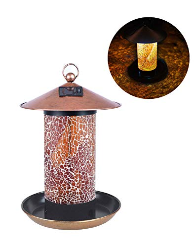 (FYCO's Handcrafted Birdfeeder Stained Glass Mosaic Hanging Outdoor Garden Décor with Solar Power Energy LED Light Waterproof Unique Gift (Amber))