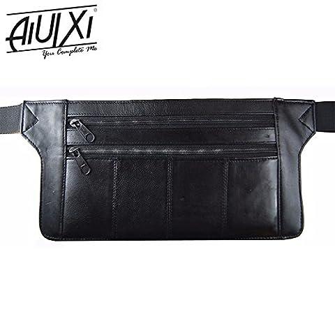 AiUIXi1991-Genuine Real Leather Travel Organizer Bum Bag Hide Money Waist Belt Fanny Pack - BLACK - Morris Care Bear Costume