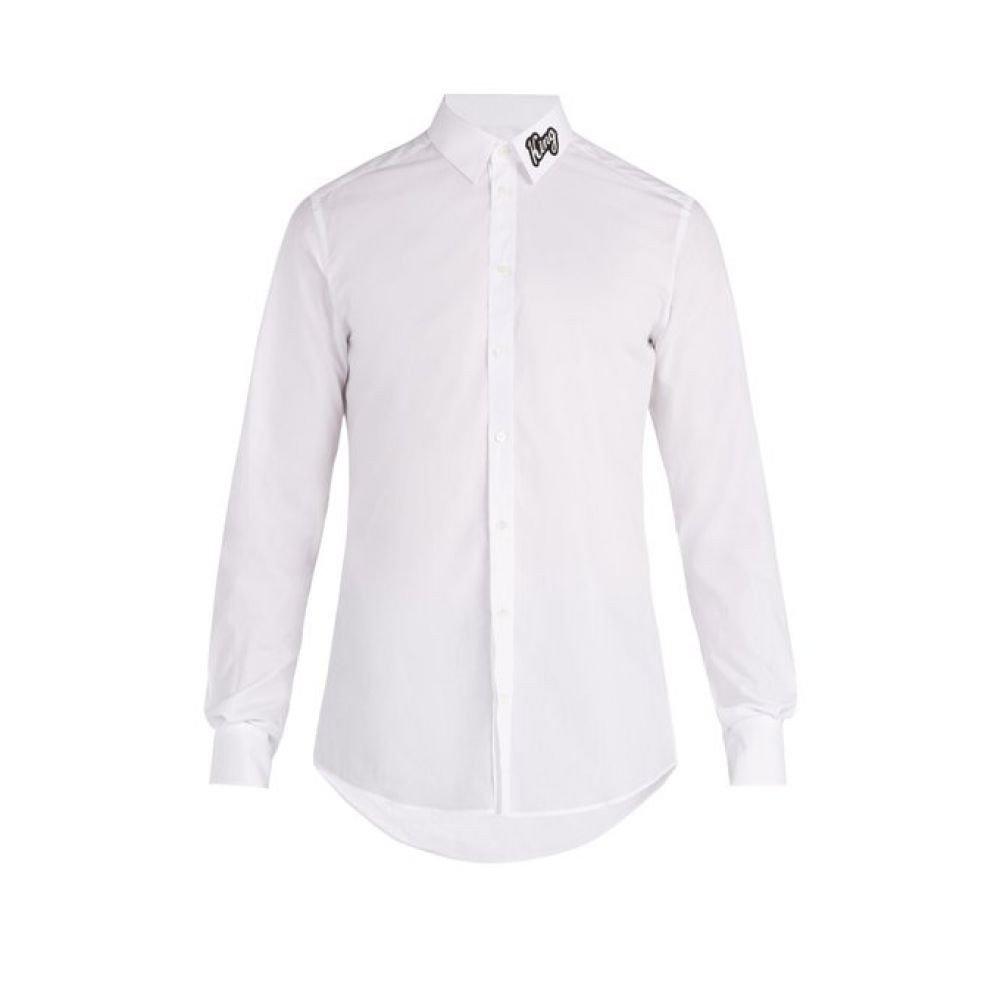 (ドルチェ&ガッバーナ) Dolce & Gabbana メンズ トップス シャツ King-applique cotton shirt [並行輸入品] B07FCZW7LG 43EU