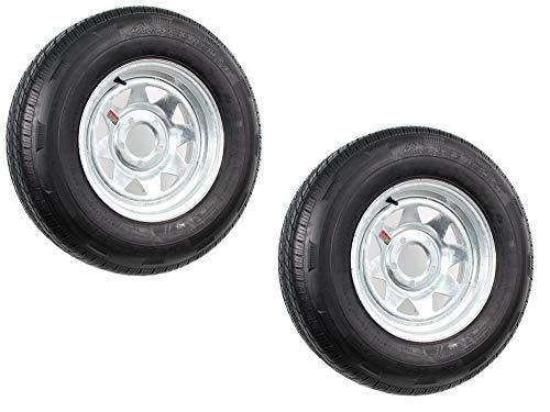 2-Pack Radial Trailer Tire On Rim ST205/75R14C 14X6 (5 on 4.5) Galvanized Spoke ()