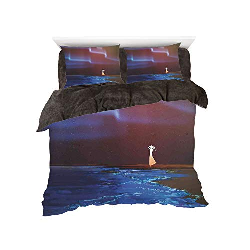 (All Season Flannel Bedding Duvet Covers Sets for Girl Boy Kids 4-Piece Full for Bed Width 4ft Pattern by,Fantasy Art House Decor,Woman on Beach Psychedelic Northern Lights Sky Star Picture Print,Blue)