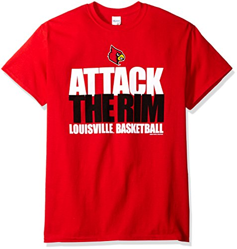 New World Graphics NCAA Louisville Cardinals Basketball Attack Short Sleeve Tee, Medium, Red