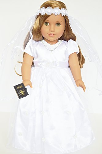 6 Piece Communion Dress Gown Compatible with American Girl Dolls Complete with Accessories- 18 Inch Doll Clothes -