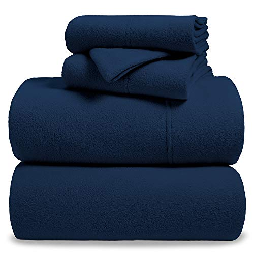 Fleece Super Soft Premium Sheet Set - Extra Plush Pill-Resistant All Season Cozy Breathable Hypoallergenic (Twin, Dark Blue)