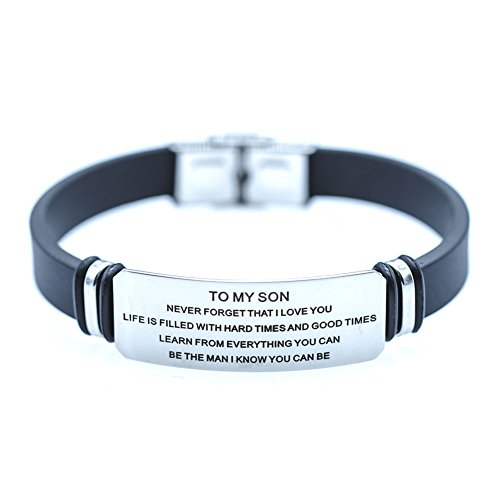 DEO JEWELRY To My Son Engraving Surgical Steel Never Forget That I Love You Inspiration Family Bracelet by DEO JEWELRY