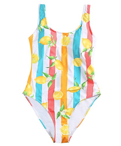 Funnygirl Women's Sexy Colorful Stripe One Piece Swimsuit High Cut Backless Beach Swimwear Bathing Suit Lemon Print X-Large (Colorful Swimsuits)