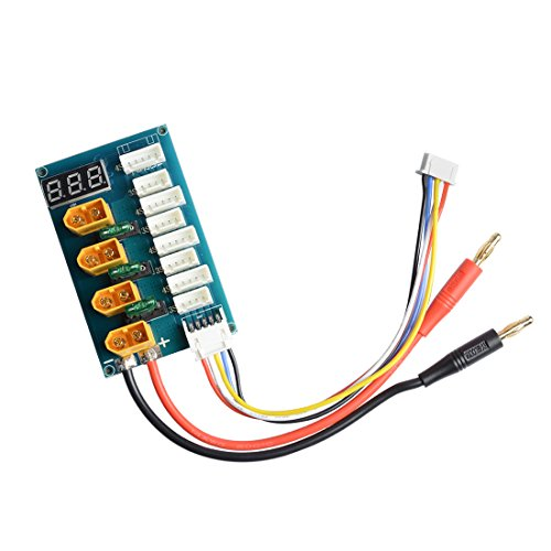 XT60 Parallel Charging Board/Charge Plate for 3S 4S Lipo Battery with Voltage LED Display/Banana Plug Input