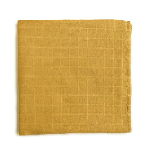 Earthy Mix - The Mini Scout Muslin Swaddle Blanket - Gender Neutral Baby Swaddle Blanket (Yellow Mustard)