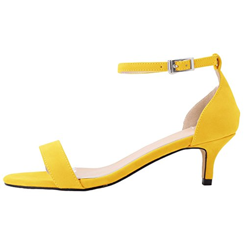 HooH Women's Flannel Peep Toe Ankle Strap Kitten Sandals Yellow DksTM