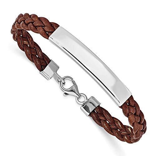 925 Sterling Silver Polished Engravable ID 8mm Brown Braided Leather Bracelet 7