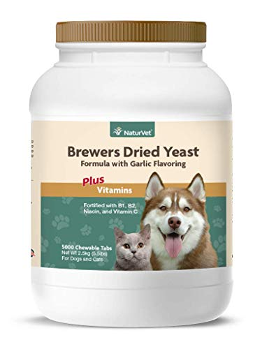 NaturVet - Brewer's Dried Yeast Formula with Garlic Flavoring - Plus Vitamins - Supports Healthy Skin & Glossy Coat -Fortified with B-1, B-2, Niacin & Vitamin C -for Dogs & Cats (5,000 Tablets)