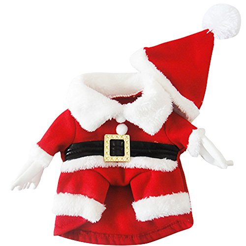 Santa Clause Costumes with Hat for Dog, Santa Dress Hoodie Coat Pet Dog Christmas Costumes Suit with Santa Hat for Pug, Chihuahua, Shih Tzu, Yorkshire Terriers, -