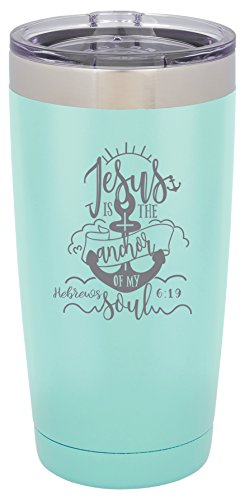 Jesus is the Anchor of My Soul - Hebrews 6:19 - 20 ounce Double wall vacuum insulated tumbler - Tons of colors by Griffco Supply (Light Teal) by Griffco