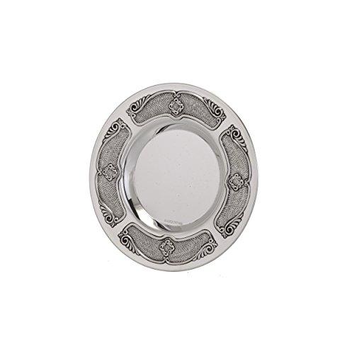 Hazorfim Uri Silver Kiddush Plate, Sterling silver 925, coaster saucer, wine shabbat bar mitzva wedding gift handmade Israel Judaica by Hazorfim