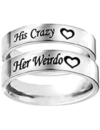 1 PCS HIS CRAZY HER WEIRDO Ring Stainless Steel Rings for Women Men Couple Ring Wedding Gifts
