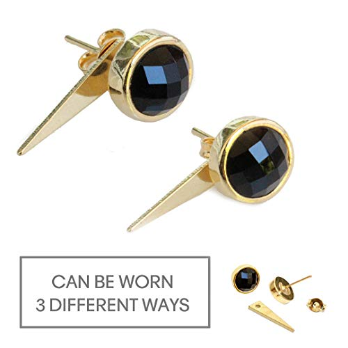 Geometric Spike (FIRE EAR JACKETS 24K Gold Round Black Onyx Gemstone Convertible Stud Earrings | Can Be Worn 3 Ways | Hypoallergenic | Geometric Spike Triangle | Birthday Anniversary Engagement Party gifts)