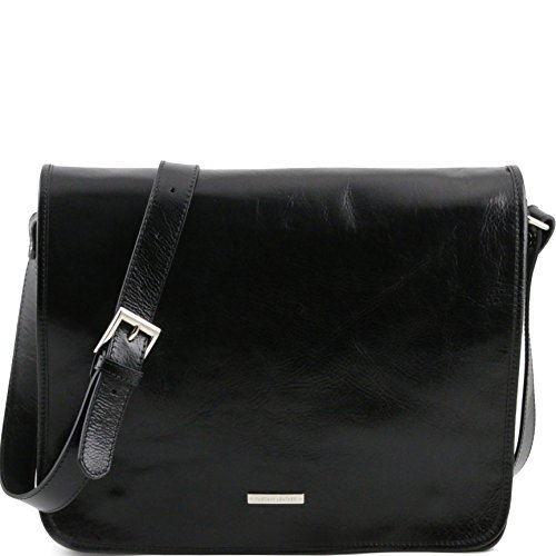 Tuscany Leather TL Messenger Two compartments leather shoulder bag - Large size Black by Tuscany Leather