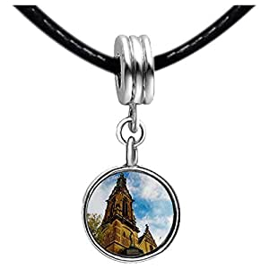 Chicforest Silver Plated Travel Holy Ghost Church in Heidelberg Photo Sapphire Crystal September Birthstone Flower dangle Charm Beads Fits Pandora Charm