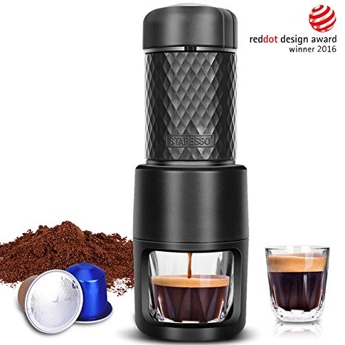 STARESSO Portable Espresso Machine, Manual Espresso for Rich & Thick Crema,  Mini Espresso Maker Compatible with Nespresso Pods & Ground Coffee, Small