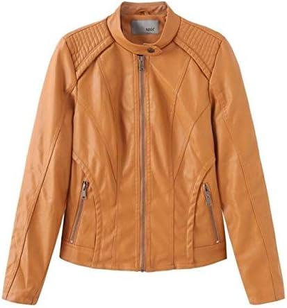 LXFWT Nuevo otoño Color sólido Chaqueta de Cuero Femenina PU Chaqueta Femenina Collar señoras Ropa de Moto
