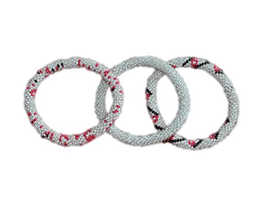 Transparent White and Red flower Handmade Bracelets Set, Seed Beads,Nepal, BS104