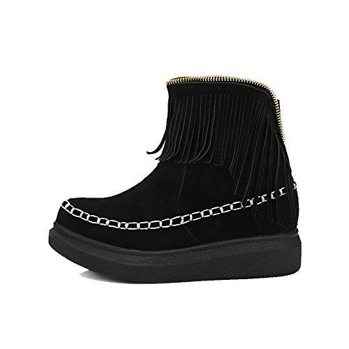 AllhqFashion Mujeres Sin cordones Esmerilado Puntera Redonda Mini Tacón Sólido Botas Negro