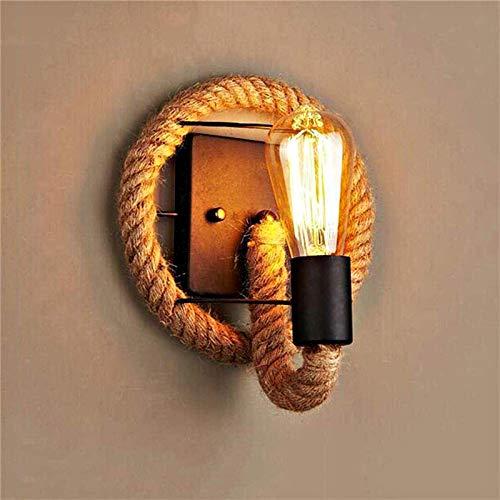 LXHK Henneptouw wandlamp, vintage retro wandlamp, Amerikaans touw industriële lamp, wandlamp vintage landhuis binnen…