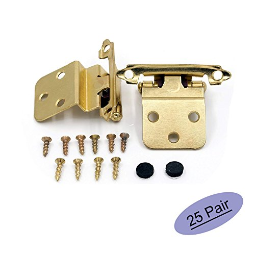 "3/8"" Inset Cabinet Hinges Face Mount Self Closing Cabinet Door Hinges Inset - goldenwarm Brass Stainless Steel Inset Hinges for Kitchen Cabinets SCH38BB-25Pair"