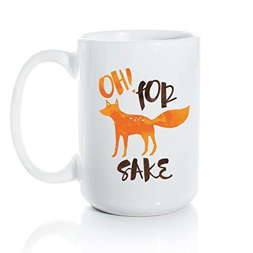 - Oh! For Fox Sake Ceramic Coffee Mug - Large 15oz Coffee Cup - Fox and Clover Original