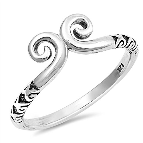 Sterling Silver Double Wave (Celtic Swirl Double Wave Fashion Ring New .925 Sterling Silver Band Size 6)
