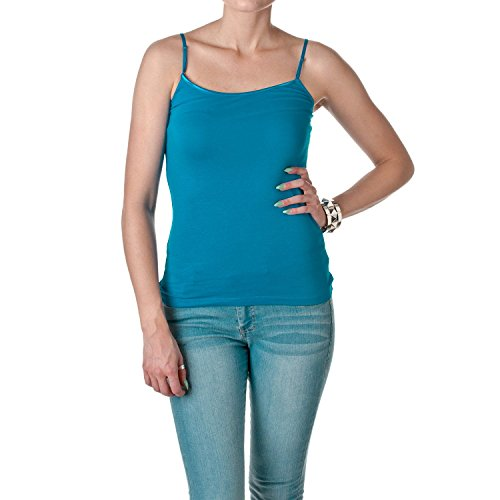Regular Length Spaghetti Strap Tank Top Camis Basic Camisole Cotton Plain Solid Color (Small, Turquoise)