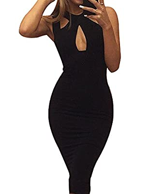Allegrace Women Summer Sexy Front Cross Cut Bodycon Stretch Bandage Party Club Dress