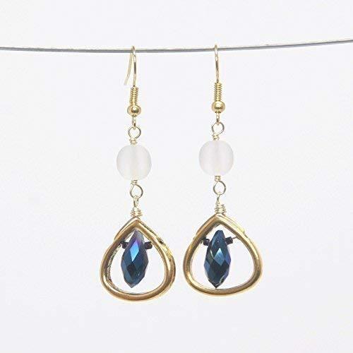 - Rain Drop Earring - Matte White Crystal, Blue-Gray 2 Tone Tear Drop Beads, 1.75-in