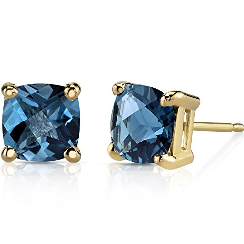 14K Yellow Gold Cushion Cut 2.25 Carats London Blue Topaz Stud Earrings