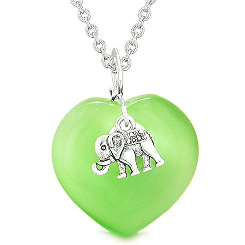 30 Mm Neon Green (Lucky Elephant Charm Amulet Magic Powers Heart Neon Green Simulated Cats Eye Pendant 18 inch Necklace)