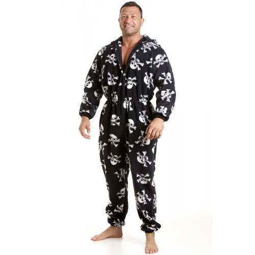 Camille Mens All In One Black And White Skull Print Fleece Pocketed Pajama Onesie XS-4XL