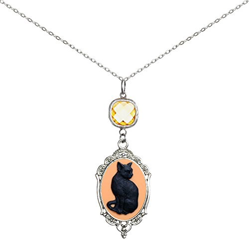 cklace Sweet Cameo Pendant 2 Chains Gift Jewelry (Black Cat) ()