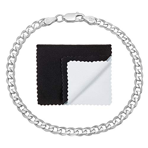 925 Sterling Silver Italian Crafted 4.3mm Beveled Cuban Link Chain Bracelet, 7