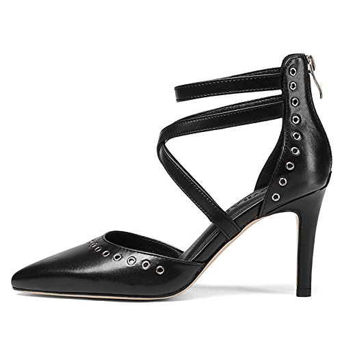 GAOLIM Hueco Transversal Único Baotou Verano Heel Negro Mujeres De Zapatos Zapatos De Punta Fina High Shoes Primavera Tira Con Y Mujer rrzSwHxq