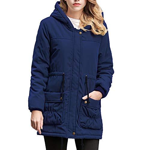 TOTOD Coat Parka, Women Warm Velvet Inner Hooded Zip Jacket Drawtring Waist Dual Pockets Stylish Plain Outerwear for $<!--$21.99-->