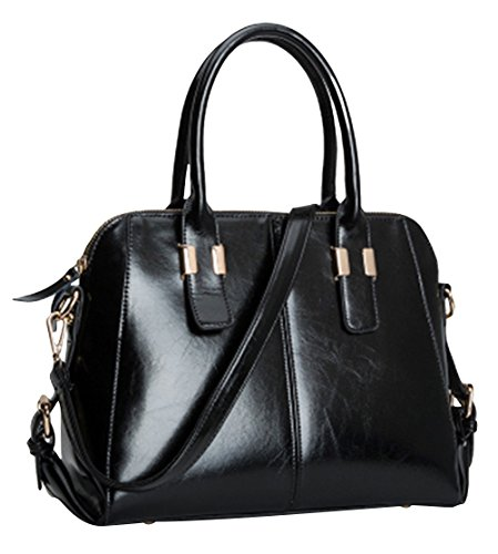 Hellofashion Women's A Huge Leather Crossbody Handbag Black One Size