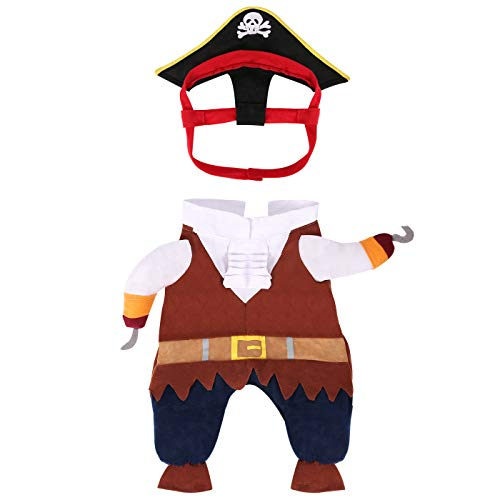 HDE Pirate Dog Costume Halloween Pet Apparel for Caribbean SeaDOGS Sized Small to Large (Brown, Medium)